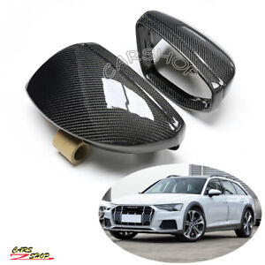 For Audi C8 A6 S6 RS6 A7 A8 Carbon Fiber Side Mirror Cover Cap W/O Lane Replace