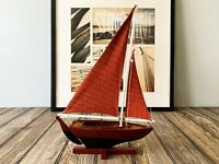 Handmade Wooden Pond Yacht Sailboat Model Decor