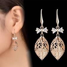 Hollow Leaf  Dangle Earrings Design Drop Earrings Gold Plated Long Earrings