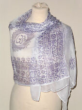 klein ethnisch Hindu / Buddhist Schal weiß/schwarz OM Natraj Ganesh Buddha Shiva