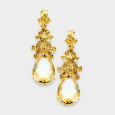 Golden diamante earrings sparkly bling prom party long gold tone dangly 0407