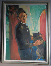 Vintage American Modern Painting Portrait Young Man Boy Black Cat Carol Wald