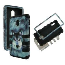 For LG Optimus F7 US780 Hybrid BlkStrip Wolf Hard Soft Cover Case
