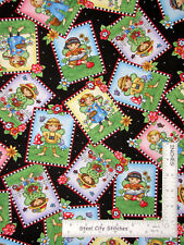 Engelbreit Fairy Flowers Toss Black Cotton Fabric QT Mary 's Fairies By The Yard