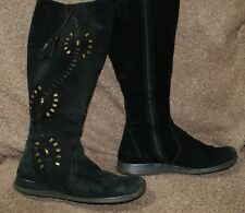 CLARKS black suede boots size 5