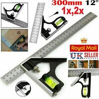 "300mm (12"") Adjustable Engineers Combination Try Square Set Right Angle Ruler UK"