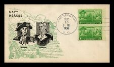 DR JIM STAMPS NAVY HEROES JONES BARRY FDC PAIR SCOTT 790 US COVER