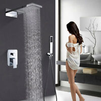 Chrome Rainfall Waterfall Shower Faucet For Wall Mounted With Hand Shower Spray