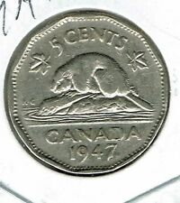 1947 Maple Leaf Canadian Circulated  George VI Five Cent Coin!