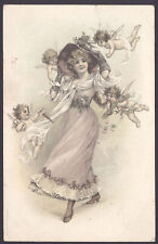 Cherubs Surround a Fashionable Beauty. 1905 Postmarked Postcard