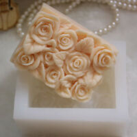 3D Rose Flower Silicone Soap Candle Molds Rectangle Soap Mould DIY QZ