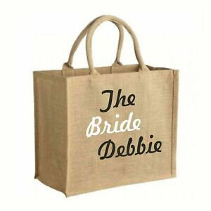 Personalised Wedding Gift LARGE Sized Shopping Jute Tote Style bag with Handles
