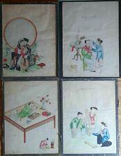 4 Dessins Indochine Fumeur D'opium, Amoureux...vietnam 19eme Siècle