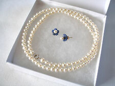 SET-  4 mm Pearl with 2 Ct. Blue Chalcedony 'Flower' Earrings & Strand of Pearls
