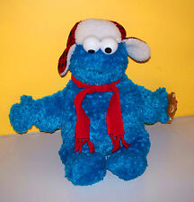 CHRISTMAS SESAME STREET~COOKIE MONSTER HOLDING GINGERBREAD COOKIE~ Plush Animal