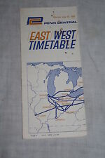 Vintage Penn Central Railroad East West Timetable June 29, 1969