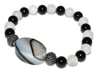 Black Tourmaline Agate Snow Quartz Bracelet Protection Crystal Healing Evening