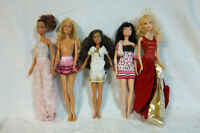 "5 Mattel Barbie Red Dress Ethnic 12"" Dolls Toy"