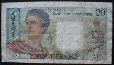 Banque de l'indochine Noumea New Caledonia 1951-63 20 Francs