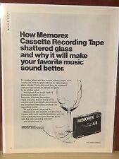 1970 MEMOREX Cassette Recording Tape Shatters Glass Ad