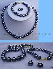 9-10mm genuine black Akoya Cultured Pearl necklace bracelet earring Jewelry set
