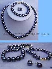 9-10mm genuine black Akoya Cultured Pearl necklace bracelet earring Jewelry set
