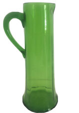 New listing vintage Mid Century martini pitcher Carafe green Bubble glass tall 12� Rare