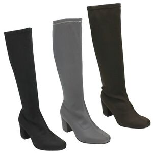 SALE SPOT ON  F50623 LADIES STRETCHY PLAIN LYCRA ZIP UP KNEE HIGH BOOTS SIZE