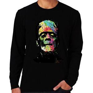 Velocitee Mens Long Sleeve T-Shirt Colourful Frankstein Monster Halloween A23912