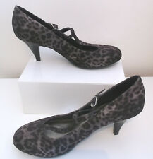 BNWT M&S LEOPARD ANIMAL PRINT MARY JANE HEELS SHOES UK 5.5 39 BROWN FAUX SUEDE
