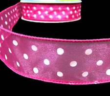 "5 Yards Pink White Polkadots Polka Dots Sheer Wired Ribbon 1 1/2""W"