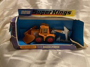 Matchbox Super Kings K-25 Digger & Plough articulating rotating trench boxed