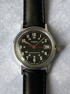 1977 Vintage Mens Watch  Timex Watch Military 24 Hours Black Dial Made In GB