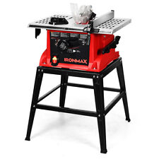 "10"" Table Saw Electric Cutting Machine Aluminum Tabletop Woodworking w/ Stand"