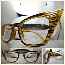 CLASSIC VINTAGE RETRO Cat Eye Style Clear Lens EYE GLASSES Pointy Brown Frame