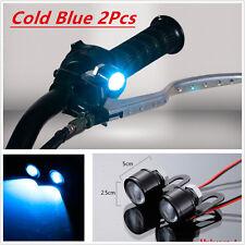 Pair Motorcycle Spotlight Cold Blue LED Headlight Daytime Running Light Driving