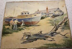 Rockport, MA W/Col-1956-By F Kuchenmeister-Sunlit Boatyard W/Figures-Beautiful