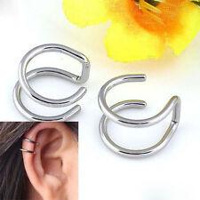 2X Men Women Punk Non-piercing Cartilage Cuff Eardrop Ear Clip Clip-on Earrings