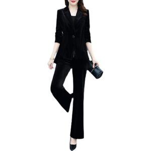 New Business Womens Velvet Lapel Suit Jacket Loose Wide Leg Pants Two-Piece Suit