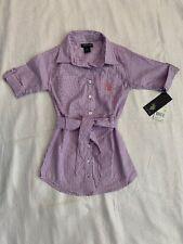 NWT U.S. Polo Assn. Girls Size 4 Striped Belted Shirt Dress Retail $40!