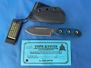 TOPS Baghdad Bullet Knife Black/Blue G-10 1095 Carbon Steel Kydex Sheath USA