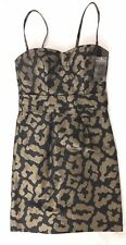 ETCETERA Caravan Gold Black Metallic Leopard Print Dress Sz 2 cocktail strap NWT