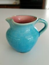 Pisgah Forest c1949  green blue NC art Pottery pitcher signed Stephen AS IS