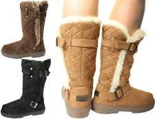 Womens Ladies Winter Buckle Snow Flat Warm Flat Calf High Fur Lined Biker Boots