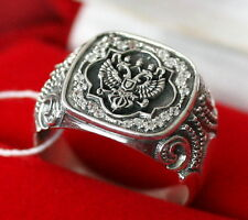 MEN ORTHODOX RING DOUBLE HEADED EAGLE RUSSIAN FEDERATION COAT SILVER 925