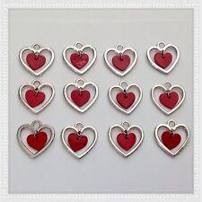 12 Silvertone with Red Heart Dangle Love Charms Jewelry DIY Earrings Bracelet G8
