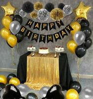 Happy Birthday Banner Black and Gold Party Decorations  Star Poms Foil Balloon