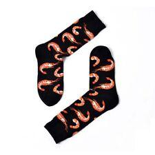 Novelty Seafood Pattern Funny Hip Hop Fashion Mens Soft Cotton Skateboard Socks Black
