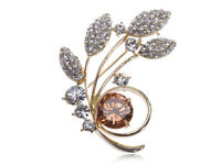 Golden Tone Topaz Crystal Rhinestone Swaying Leaves Inspired Pin Brooch