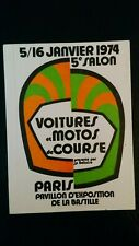 Autocollant sticker vintage publicitaire Salon Voitures et Motos de course 1974